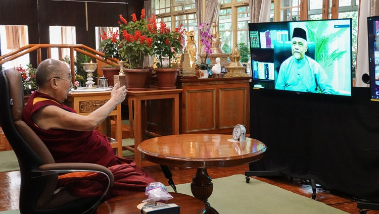 His Holiness the Dalai Lama responding to Professor Emeritus Datuk Osman Bakar during their conversation on Compassion and Mercy — Common Values between Islam and Buddhism from his residence in Dharamsala, HP, India on September 28, 2020. Photo by Ven Tenzin Jamphel