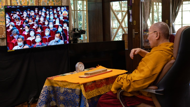 His Holiness the Dalai Lama speaking to the virtual audience on the first day of teachings requested by Taiwanese Buddhists from his residence in Dharamsala, HP, India on October 2, 2020. Photo by Ven Tenzin Jamphel