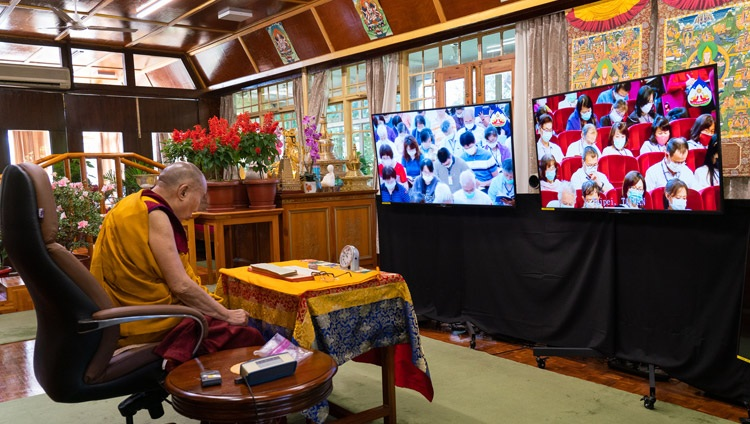 His Holiness the Dalai Lama reading from the 'Essence of True Eloquence' on the first day of his virtual teachings requested by Taiwanese Buddhists from his residence in Dharamsala, HP, India on October 2, 2020. Photo by Ven Tenzin Jamphel