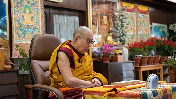 His Holiness the Dalai Lama continuing to read from 'Essence of True Eloquence' on the second day of his virtual teachings from his residence in Dharamsala, HP, India on October 3, 2020. Photo by Ven Tenzin Jamphel