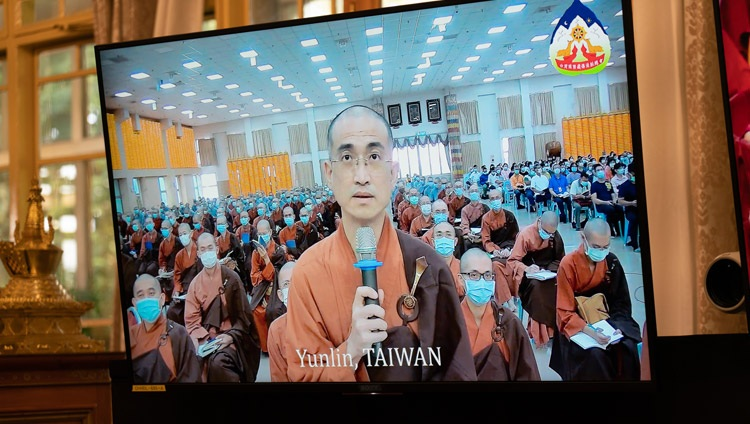 A member of the virtual audience from Yunlin, Taiwan, asking His Holiness the Dalai Lama a question during the second day of teachings from his residence in Dharamsala, HP, India on October 3, 2020. Photo by Ven Tenzin Jamphel