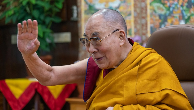 His Holiness the Dalai Lama waving to the virtual audience at the start of the third day of teachings from his residence in Dharamsala, HP, India on October 4, 2020. Photo by Ven Tenzin Jamphel