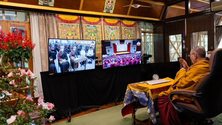 His Holiness the Dalai Lama speaking to the virtual audience in Taiwan on the third day of teachings from his residence in Dharamsala, HP, India on October 4, 2020. Photo by Ven Tenzin Jamphel