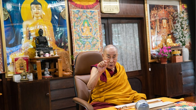 His Holiness the Dalai Lama explaining Tsongkhapa's 'Essence of True Eloquence' on the third day of his virtual teachings from his residence in Dharamsala, HP, India on October 4, 2020. Photo by Ven Tenzin Jamphel