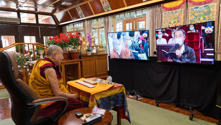 A member of the virtual audience in Taiwan asking His Holiness the Dalai Lama a question on the third day of teachings from his residence in Dharamsala, HP, India on October 4, 2020. Photo by Ven Tenzin Jamphel