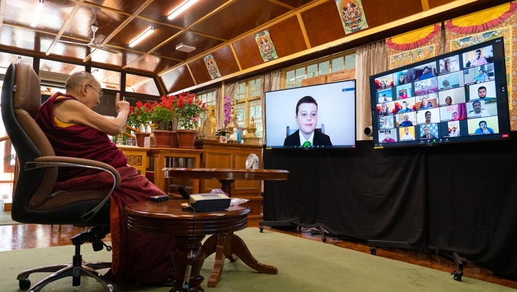 His Holiness the Dalai Lama answering a question from a student during his virtual interaction organized by the Dr APJ Abdul Kalam International Foundation from his residence in Dharamsala, HP, India on October 15, 2020. Photo by Ven Tenzin Jamphel