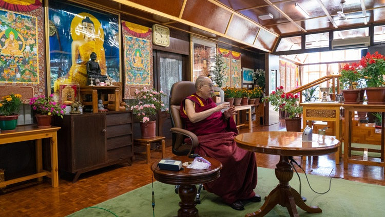 His Holiness the Dalai Lama speaking to a virtual audience at the invitation of the Dr APJ Abdul Kalam International Foundation from his residence in Dharamsala, HP, India on October 15, 2020. Photo by Ven Tenzin Jamphel