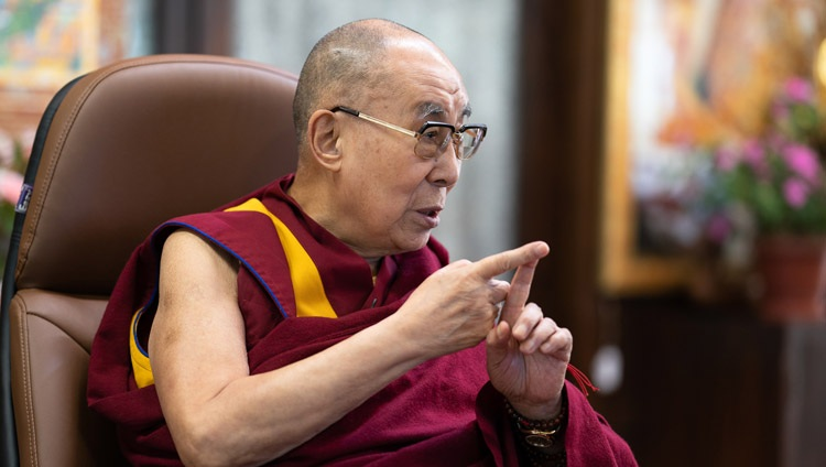 His Holiness the Dalai Lama answering a question from the virtual audience of students during his talk on Working Together for a Peaceful World from his residence in Dharamsala, HP, India on October 15, 2020. Photo by Tenzin Phuntsok