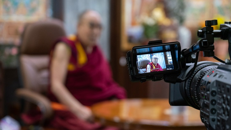 His Holiness the Dalai Lama taking part in a virtual discussion organized by EdCamp Ukraine from his residence in Dharamsala, HP, India on October 20, 2020. Photo by Ven Tenzin Jamphel