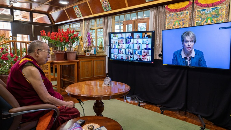Former Ukrainian Minister of Education and Science Liliia Hrynevych asking His Holiness the Dalai Lama a question during their virtual discussion organized by EdCamp Ukraine from his residence in Dharamsala, HP, India on October 20, 2020. Photo by Ven Tenzin Jamphel