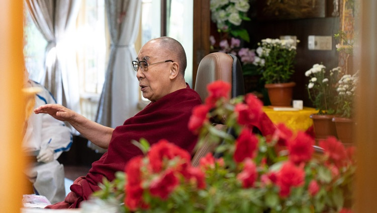 """His Holiness the Dalai Lama during his talk on """"India's Heritage of Karuna and Ahimsa"""" by video link from his residence in Dharamsala, HP, India on October 26, 2020. Photo by Ven Tenzin Jamphel"""