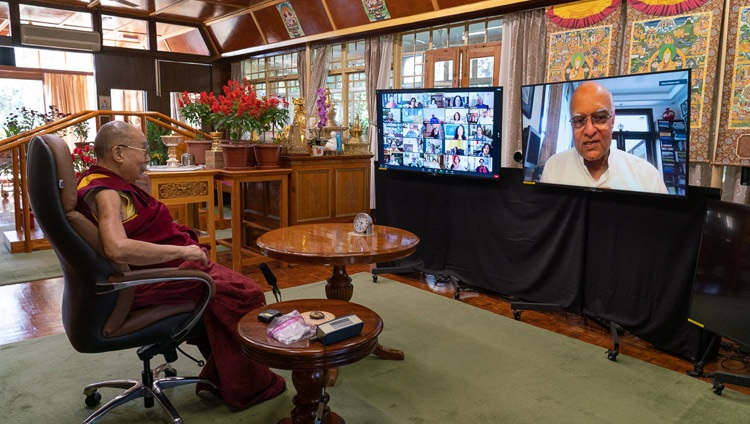 His Holiness the Dala Lama listening to a question posed by former National Security Adviser & Foreign Secretary of India Shivshankar Menon during his virtual talk from his residence in Dharamsala, HP, India on October 26, 2020. Photo by Ven Tenzin Jamphel