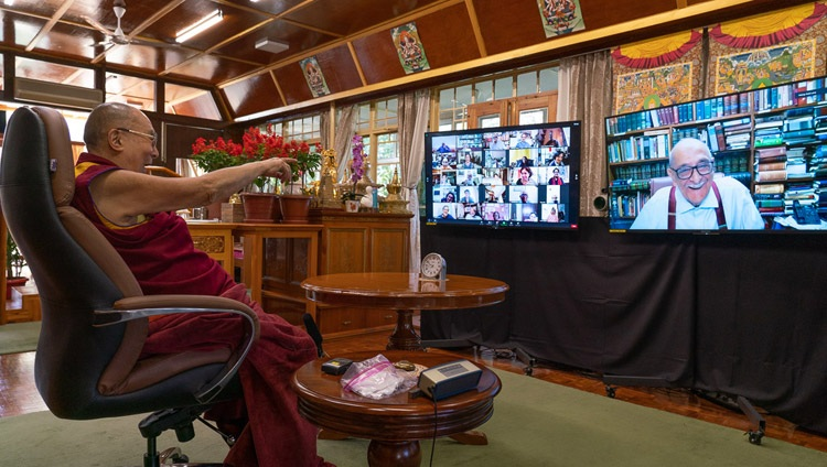"""His Holiness the Dalai Lama interacting with Fali Nariman, a senior advocate to the Supreme Court of India, during the question and answer session during his virtual talk on """"India's Heritage of Karuna and Ahimsa"""" from his residence in Dharamsala, HP, India on October 26, 2020. Photo by Ven Tenzin Jamphel"""