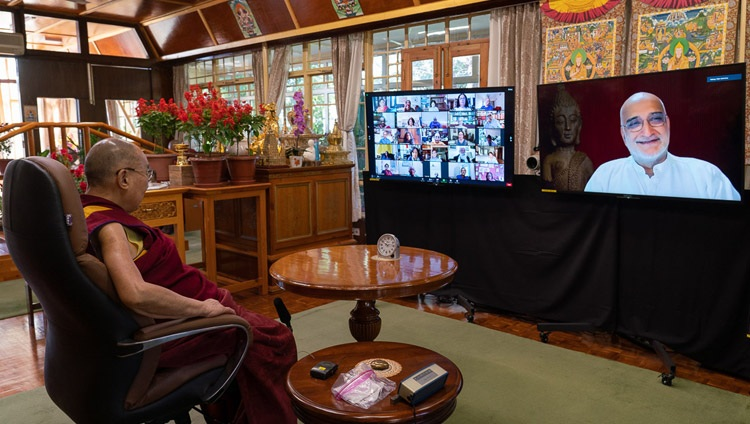 """Moderator Rajiv Mahrotra, Secretary of the the Foundation for Universal Responsibility of His Holiness the Dalai Lama (FURHHDL) following following up on a question during the question and answer session during his virtual talk on """"India's Heritage of Karuna and Ahimsa"""" from his residence in Dharamsala, HP, India on October 26, 2020. Photo by Ven Tenzin Jamphel"""
