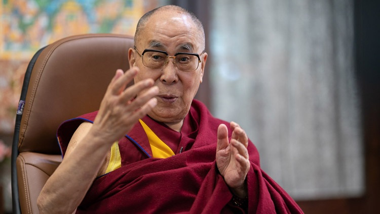 """His Holiness the Dalai Lama speaking to the virtual audience during his talk on """"India's Heritage of Karuna and Ahimsa"""" from his residence in Dharamsala, HP, India on October 26, 2020. Photo by Tenzin Phuntsok"""