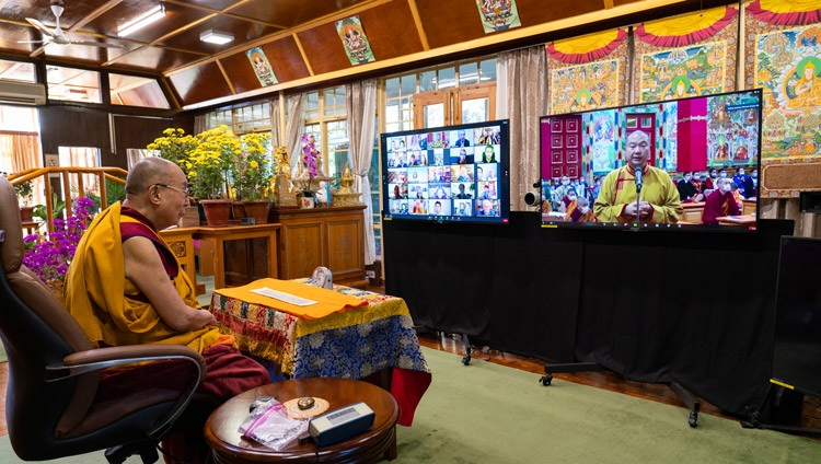 Telo Rinpoché, who is His Holiness the Dalai Lama's representative in Russia, Mongolia and CIS countries, welcoming His Holiness the Dalai Lama at the start of the first day of virtual teachings from his residence in Dharamsala, HP, India on November 5, 2020. Photo by Ven Tenzin Jamphel
