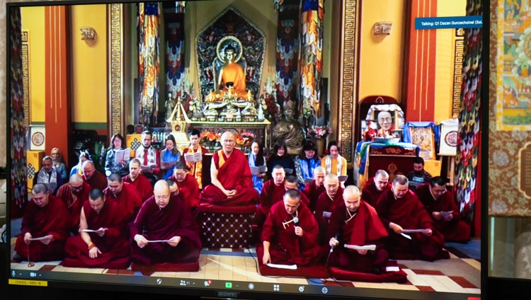 Members of Kuntse Choinoei Datsang in St Petersburg chanting the Heart Sutra to open the virtual teachings by His Holiness the Dalai Lama from his residence in Dharamsala, HP, India on November 5, 2020. Photo by Ven Tenzin Jamphel