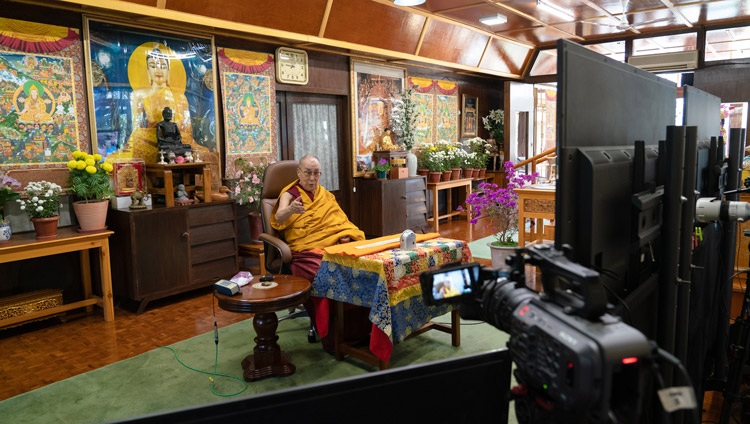 His Holiness the Dalai Lama addressing the virtual audience on the first day of teachings requested by Russian Buddhists from his residence in Dharamsala, HP, India on November 5, 2020. Photo by Ven Tenzin Jamphel