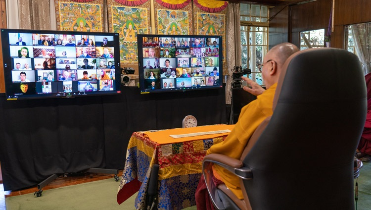 """His Holiness the Dalai Lama addressing the virtual audience on the first day of teachings on Nagarjuna's """"Commentary on the Awakening Mind"""" from his residence in Dharamsala, HP, India on November 5, 2020. Photo by Ven Tenzin Jamphel"""