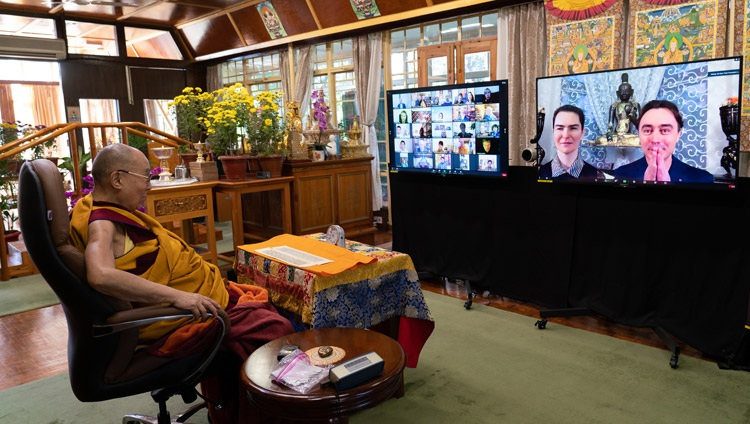 His Holiness the Dalai Lama answering a question from the virtual audience of Russian Buddhists on the first day of teachings from his residence in Dharamsala, HP, India on November 5, 2020. Photo by Ven Tenzin Jamphel