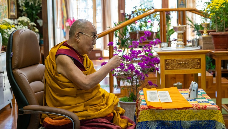 His Holiness the Dalai Lama addressing the virtual audience on the second day of his virtual teachings requested by Russian Buddhists from his residence in Dharamsala, HP, India on November 6, 2020. Photo by Ven Tenzin Jamphel