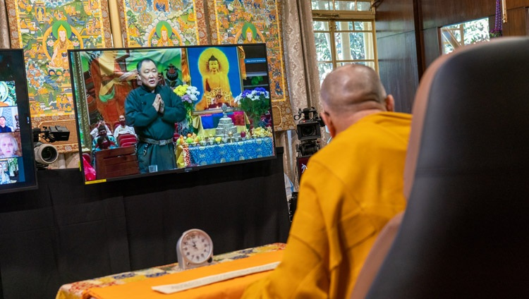 The President of the Republic of Tuva, Mr Sholban Kara-ool asking His Holiness the Dalai Lama a question on the second day of virtual teachings from his residence in Dharamsala, HP, India on November 6, 2020. Photo by Ven Tenzin Jamphel