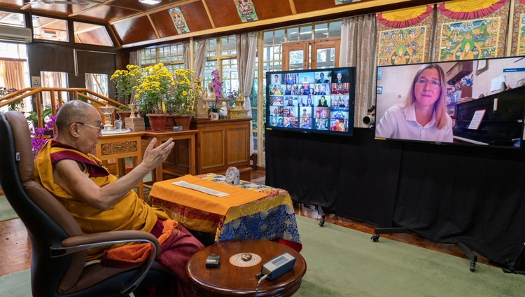 His Holiness the Dalai Lama answering a question from a member of the virtual audience on the second day of teachings requested by Russian Buddhists from his residence in Dharamsala, HP, India on November 6, 2020. Photo by Ven Tenzin Jamphel