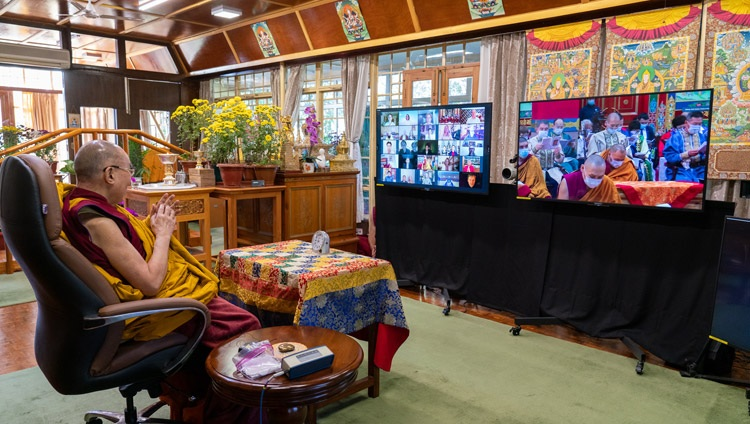 Members of the 'Golden Abode of Buddha Shakyamuni', the Central Buddhist Monastery in the Republic of Kalmykia, reciting the 'Heart Sutra' in the Kalmyk language on the third day of His Holiness the Dalai Lama's virtual teachings from his residence in Dharamsala, HP, India on November 7, 2020. Photo by Ven Tenzin Jamphel