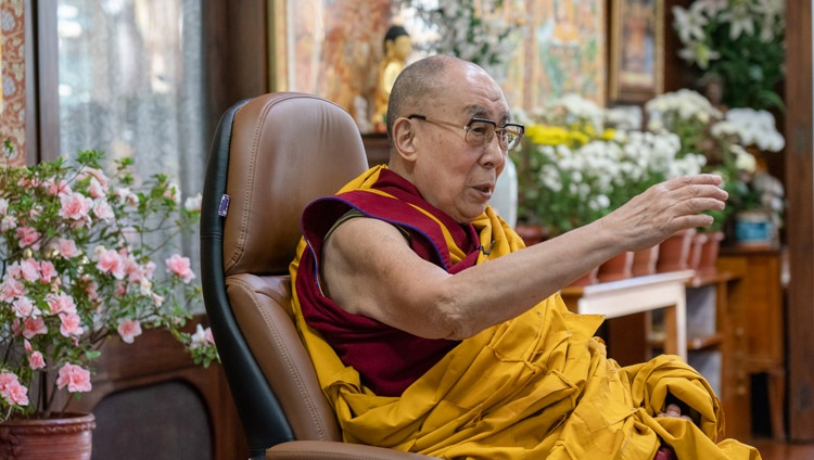His Holiness the Dalai Lama speaking on the third day of his virtual teachings requested by Russian Buddhists from his residence in Dharamsala, HP, India on November 7, 2020. Photo by Ven Tenzin Jamphel