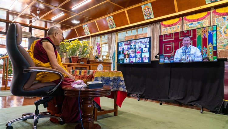 His Holiness the Dalai Lama listening to a question from a member of the virtual audience on the third day of his teachings requested by Russian Buddhists from his residence in Dharamsala, HP, India on November 7, 2020. Photo by Ven Tenzin Jamphel