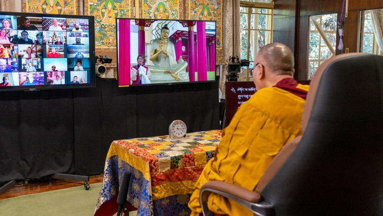 A member of the virtual audience standing by the Nagajuna staute outside the Golden Abode of Buddha Shakyamuni', the Central Buddhist Monastery in the Republic of Kalmykia, asking His Holiness the Dalai Lama a question on the third day of his teachings from his residence in Dharamsala, HP, India on November 7, 2020. Photo by Ven Tenzin Jamphel