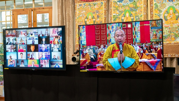 Telo Rinpoché, His Holiness the Dalai Lama's representative in Russia, Mongolia and CIS countries thanking His Holiness on behalf of Russian Buddhist on the final day of virtual teachings from his residence in Dharamsala, HP, India on November 7, 2020. Photo by Ven Tenzin Jamphel