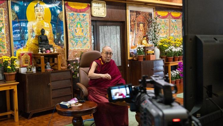 "His Holiness the Dalai Lama speaking during the virtual book launch of ""Science and Philosophy in the Indian Buddhist Classics, Vol. 2 - The Mind"" from his residence in Dharamsala, HP, India on November 13, 2020. Photo by Ven Tenzin Jamphel"