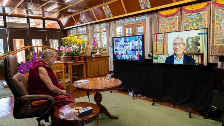His Holiness the Dalai Lama listening to series editor Thupten Jinpa explaining the importance of the series Science and Philosophy in the Indian Buddhist Classics during the virtual book launch of the second volume on the mind from his residence in Dharamsala, HP, India on November 13, 2020. Photo by Ven Tenzin Jamphel