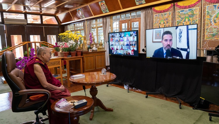 "Daniel Aitken, CEO of Wisdom Publications, asking His Holiness the Dalai Lama a question during the virtual book launch of ""Science and Philosophy in the Indian Buddhist Classics, Vol. 2 - The Mind"" from his residence in Dharamsala, HP, India on November 13, 2020. Photo by Ven Tenzin Jamphel"