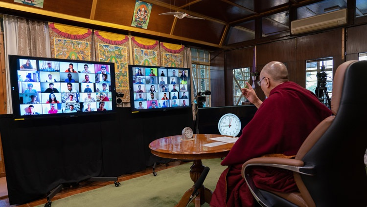 His Holiness the Dalai Lama addressing the virtual audience during his conversation with students on The Purpose of Life as part of Techfest IIT Bombay from his residence in Dharamsala, HP, India on December 15, 2020. Photo by Ven Tenzin Jamphel