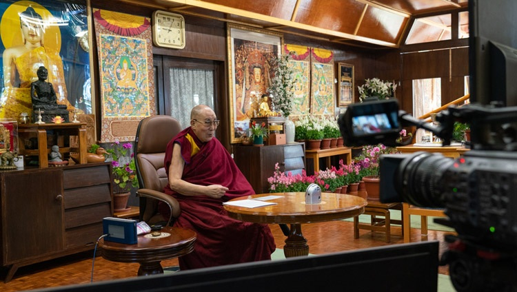 His Holiness the Dalai Lama answering questions from the virtual audience of students during his conversation organized by IIT Bombay from his residence in Dharamsala, HP, India on December 15, 2020. Photo by Ven Tenzin Jamphel