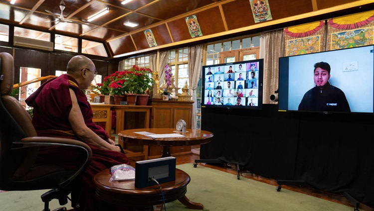 A member of the online audience asking a question fo His Holiness the Dalai Lama during his conversation as part of Techfest IIT Bombay from his residence in Dharamsala, HP, India on December 15, 2020. Photo by Ven Tenzin Jamphel