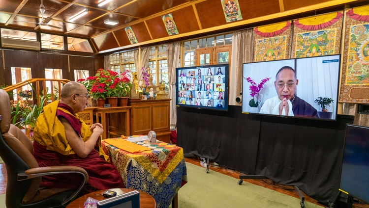 His Holiness the Dalai watching as Representative Ngodup Tsering introduces the teachings requested by the Tibetan community in North America from his residence in Dharamsala, HP, India on December 27, 2020. Photo by Ven Tenzin Jamphel