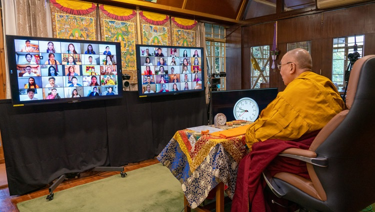 His Holiness the Dalai Lama speaking to the virtual audience during his teachings requested by the Tibetan community in North America from his residence in Dharamsala, HP, India on December 27, 2020. Photo by Ven Tenzin Jamphel