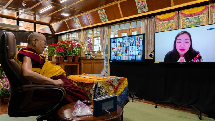A member of the virtual audience asking His Holiness the Dalai Lama a question during teachings requested by the Tibetan community in North America from his residence in Dharamsala, HP, India on December 27, 2020. Photo by Ven Tenzin Jamphel