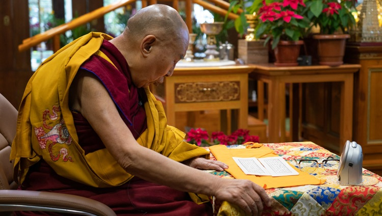 His Holiness the Dalai Lama reading from the Heart Sutra on the first day of his three day teaching from his residence in Dharamsala, HP, India on January 5, 2021. Photo by Ven Tenzin Jamphel
