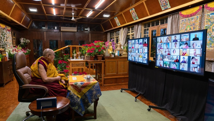 His Holiness the Dalai Lama addressing the virtual audience on the second day of his teachings requested by Korean Buddhists from his residence in Dharamsala, HP, India on January 6, 2021. Photo by Ven Tenzin Jamphel