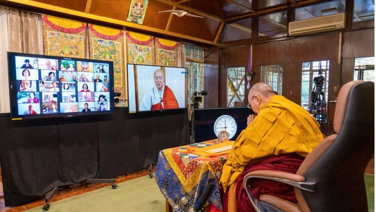 Ven JinOk chanting the Heart Sutra in Korean on the last day of His Holiness the Dalai Lama's three day teaching from his residence in Dharamsala, HP, India on January 7, 2021. Photo by Ven Tenzin Jamphel