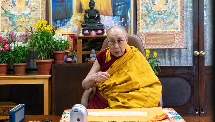 His Holiness the Dalai Lama addressing the virtual audience on the final day of his three day teaching requested by Korean Buddhists from his residence in Dharamsala, HP, India on January 7, 2021. Photo by Ven Tenzin Jamphel