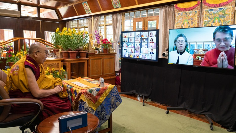 A member of the online audience in Korea asking His Holiness the Dalai Lama a question during the final day of teachings from his residence in Dharamsala, HP, India on January 7, 2021. Photo by Ven Tenzin Jamphel