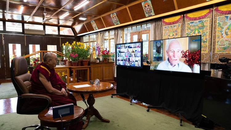 William Moomaw speaking about solutions to stopping the climate feedback loops during the conversation with His Holiness the Dalai Lama joining from his residence in Dharamsala, HP, India on January 10, 2021. Photo by Ven Tenzin Jamphel