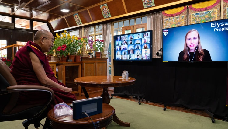 A student from Harvard Business School asking His Holiness the Dalai Lama a question during their conversation on Leadership and Happiness online from his residence in Dharamsala, HP, India on January 17, 2021. Photo by Ven Tenzin Jamphel
