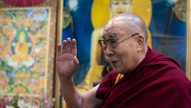 His Holiness the Dalai Lama waving to the virtual audience of students from the British School in New Delhi as he arrives for their conversation on Well-being and Resilience at his residence in Dharamsala, HP, India on January 22, 2021. Photo by Ven Tenzin Jamphel