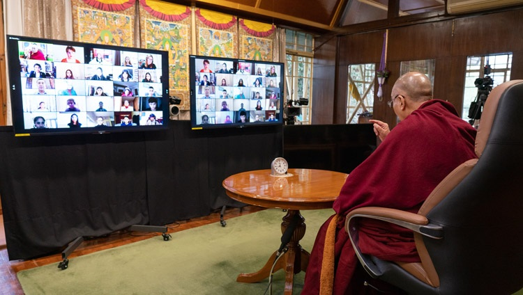 HIs Holiness the Dalai Lama speaking on Well-being and Resilience during his online conversation with students from the British School in New Delhi from his residence in Dharamsala, HP, India on January 22, 2021. Photo by Ven Tenzin Jamphel